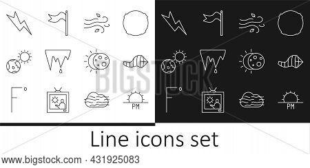 Set Line Sunset, Cone Meteorology Windsock Wind Vane, Wind, Icicle, Earth Globe And Sun, Lightning B