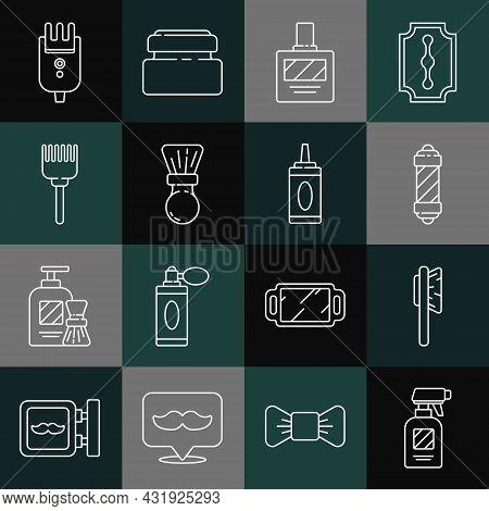 Set Line Hairdresser Pistol Spray Bottle, Hairbrush, Classic Barber Shop Pole, Aftershave, Shaving,