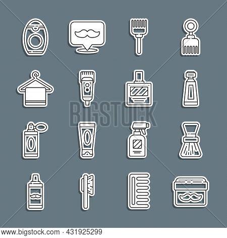 Set Line Cream Or Lotion Cosmetic Jar, Shaving Brush, Tube, Hairbrush, Electrical Hair Clipper Shave