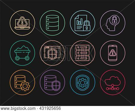 Set Line Network Cloud Connection, Mobile With Exclamation Mark, Document And Lock, Browser Shield,