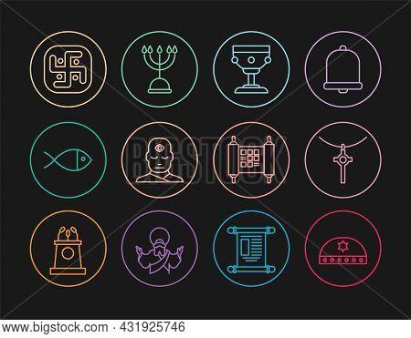 Set Line Jewish Kippah With Star Of David, Christian Cross On Chain, Chalice, Man Third Eye, Fish, J