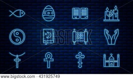 Set Line Muslim Mosque, Hands In Praying Position, The Commandments, Holy Book Of Koran, Yin Yang, C
