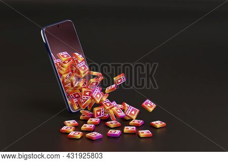 Buenos Aires, Argentina - September 4, 2021: Many Instagram Reels Logos Coming Out Of A Mobile Phone
