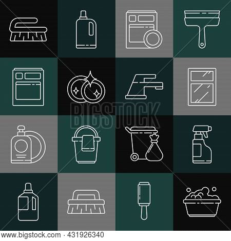 Set Line Plastic Basin With Soap Suds, Spray Bottle Detergent Liquid, Cleaning Service For Windows,
