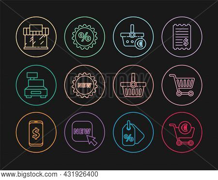 Set Line Shopping Cart And Euro, Basket, Price Tag With Text New, Cash Register Machine, Building Or