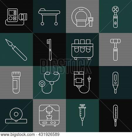 Set Line Medical Thermometer, Digital, Neurology Reflex Hammer, Tomography, Toothbrush, Surgery Scal