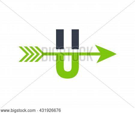 Financial Logo With U Letter Upward Arrow Concept. Initial U Letter Financial Marketing, Business An