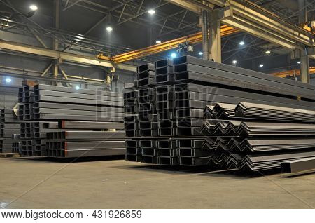 Warehousing In The Shop Of The Factory Stock Of A Corner, Channel. Rolled Metal Products.
