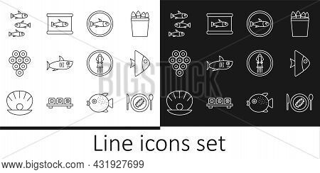 Set Line Served Cucumber On A Plate, Fish, Fish, Shark, Caviar, Fishes, Octopus And Canned Icon. Vec