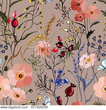 Hand Drawn Seamless Pattern With Colorful Herbs And Flowers On Beige Background. Wild Floral Texture