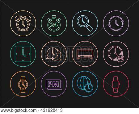 Set Line Smartwatch, Clock 24 Hours, Magnifying Glass With Clock, Speech Bubble, Alarm, Digital Alar