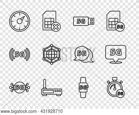 Set Line 5g Network, Digital Speed Meter, Modem, Router And Wi-fi Signal, Social, Smart Watch And Lo