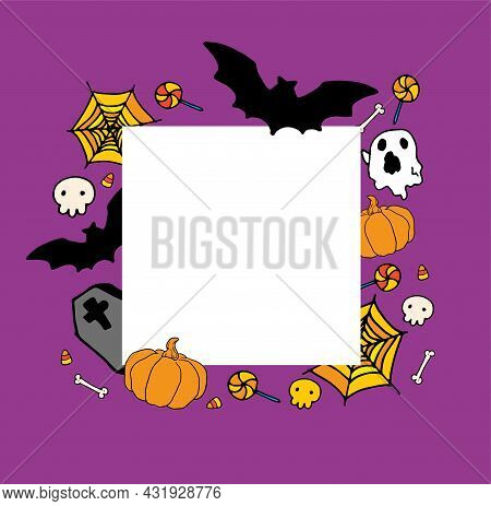Vector Template For Halloween With An Empty Space For Text. Square Template Made Of Doodle-style Pum