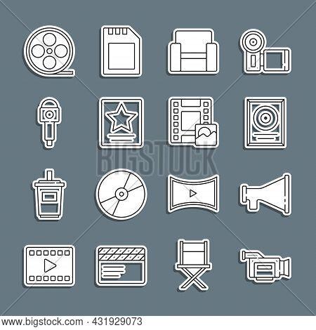 Set Line Cinema Camera, Megaphone, Cd Disk Award Frame, Chair, Hollywood Walk Of Fame Star, Micropho