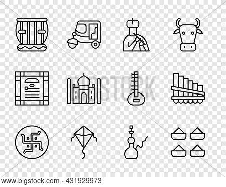 Set Line Hindu Swastika, Indian , Man Plays Flute, Kite, Instrument Tabla, Taj Mahal, Hookah And Pan