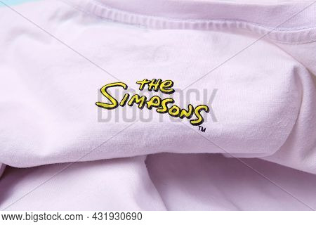 Tyumen, Russia-august 27, 2021: The Simpsons Logo On The T-shirt Is A Close-up. American Adult Anima