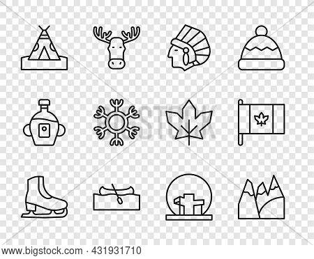 Set Line Skates, Mountains, Native American Indian, Kayak Or Canoe, Teepee Wigwam, Snowflake, Montre