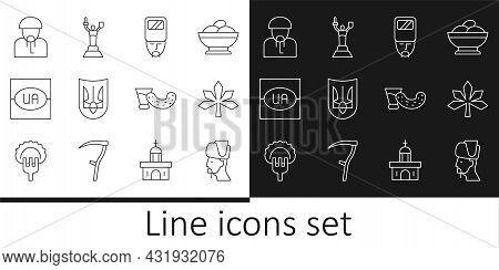Set Line Ukrainian Cossack, Chestnut Leaf, Trident, Flag Of Ukraine, Glass With Vodka And Mother Mot