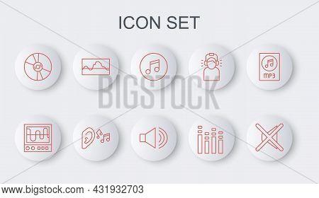 Set Line Speaker Mute, Oscilloscope, Music Note, Tone, Equalizer, Cd Or Dvd Disk, Wave, Ear Listen S