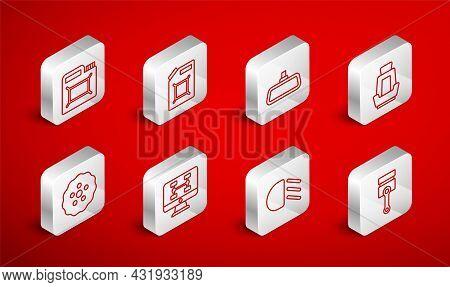 Set Line Engine Piston, Canister For Gasoline, Car Mirror, Seat, High Beam, Motor Oil, Diagnostics C