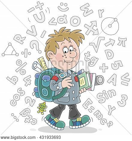 Cheerful Schoolboy With His Schoolbag And Textbooks Surrounded By Formulas And Symbols, Vector Carto