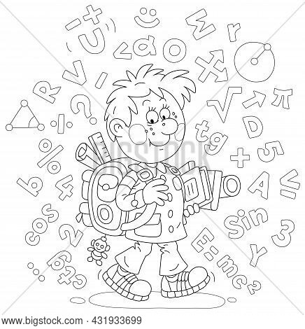 Cheerful Schoolboy With His Schoolbag And Textbooks Surrounded By Formulas And Symbols, Black And Wh