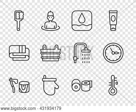 Set Line Wooden Axe In Stump, Sauna Thermometer, Water Drop, Mittens, Brush, Bucket, Toilet Paper Ro