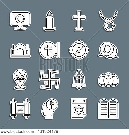 Set Line The Commandments, Easter Egg, Star Crescent, Christian Cross, Hindu Spiritual Temple, And Y