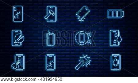Set Line Mobile With Shield, Waterproof Phone, Shockproof, Glass Screen Protector, Service, Broken,