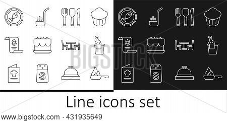 Set Line Frying Pan, Champagne Ice Bucket, Fork, Spoon And Knife, Cake, Paper Financial Check, Serve