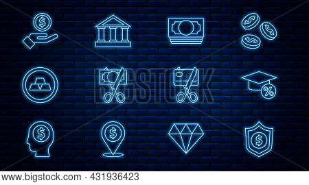 Set Line Shield With Dollar, Graduation Cap And Coin, Stacks Paper Money Cash, Scissors Cutting, Gol