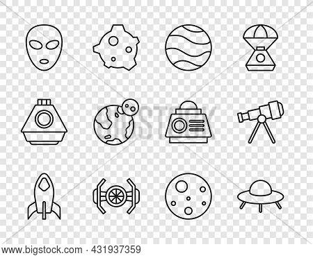 Set Line Rocket Ship, Ufo Flying Spaceship, Planet, Cosmic, Alien, Earth Globe, Mars And Telescope I