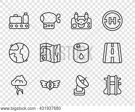 Set Line Storm, Parachute, Aircraft Steering Helm, Aviation Emblem, Conveyor Belt With Suitcase, Wor