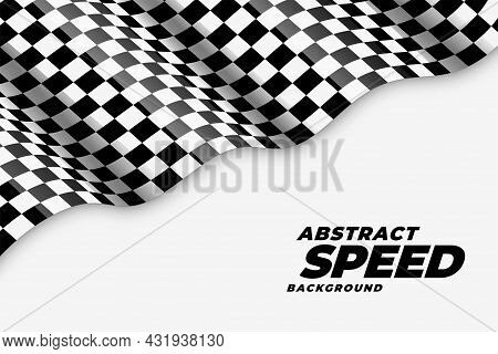 Wavy Checkered Racing Flag Speed Background Vector Design Illustration