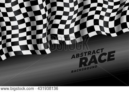 Realistic Checkered Racing Flag Speed Background Vector Design Illustration
