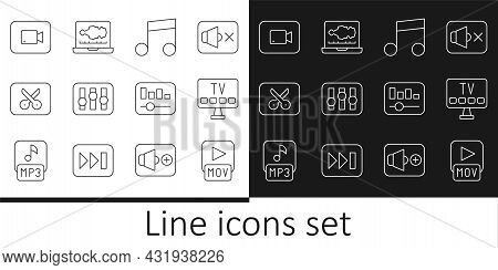 Set Line Mov File, Smart Tv, Music Note, Tone, Sound Mixer Controller, Or Video Editing, Play Button