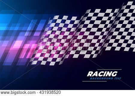 Realistic Wavy Flag Checkered Background Vector Design Illustration