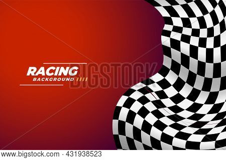 Checkered Racing Flag Realistic Background Vector Design Illustration