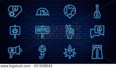Set Line Jeans Wide, Speech Bubble Chat, The Heart World - Love, Peace, Marijuana, Love Peace, Symbo