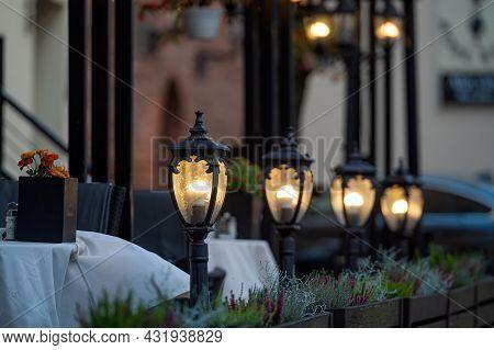 Light Lanterns Along The Street Cafe, Street Evening Lights, Closeup