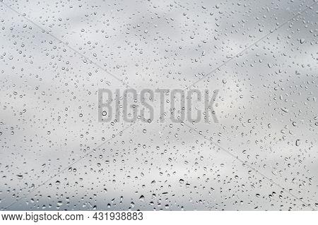 Raindrops On Window Glass, Selective Focus, Rainy City Background, Texture Of Raindrops, Wet Glass
