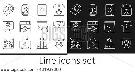 Set Line Football Flag Pennant, Jersey And T-shirt, Field, Goal With, Match On Tv, Soccer Football,