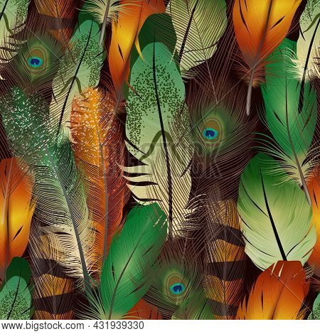 Feathers Realistic Seamless Pattern With Colorful Bird Air Feathers Vector Illustration