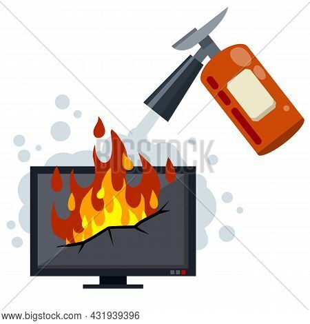 Fire Fighting. The Job Of A Firefighter. Red Fire Extinguisher. Danger And Problem. Broken Home Appl