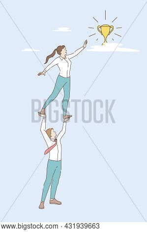 Teamwork, Business Achievement And Success Concept. Young Smiling Businessman Holding Business Woman