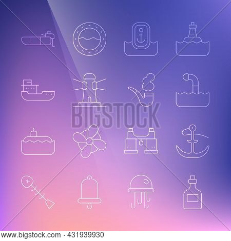 Set Line Rum Bottle, Anchor, Periscope, Location With Anchor, Lighthouse, Cargo Ship, Inflatable Boa