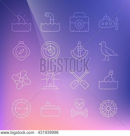 Set Line Ship Steering Wheel, Bottle With Message Water, Bird Seagull, First Aid Kit, Radar Targets,