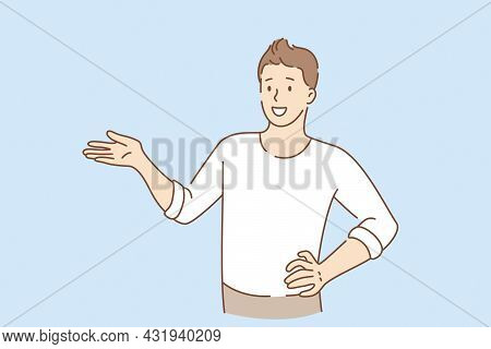 Hand Language And Gesticulating Concept. Young Smiling Man Cartoon Character Standing Gesticulating