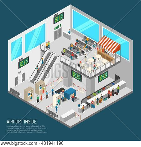 Airport Poster Of Terminal Inside Presenting Arrival Hall Receipt Of Baggage Inspection Zone And Oth