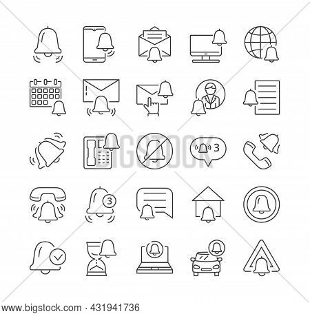 Simple Set Of Notifications Vector Line Icons. Bell, Mute, Notice, Ring, Notification, Envelope, Mes